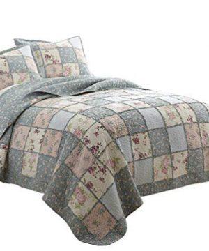 Chezmoi Collection Abbi 3 Piece Garden Floral Vintage Washed 100 Cotton Reversible Patchwork Quilt Set King 0 300x360