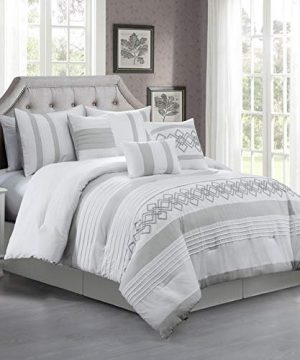 Chezmoi Collection Ariel 7 Piece Gray White Geometric Chenille Embroidery Pleated Striped Comforter Set Queen Size 0 0 300x360