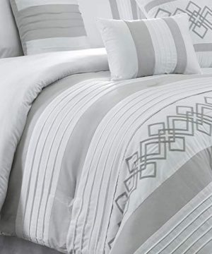 Chezmoi Collection Ariel 7 Piece Gray White Geometric Chenille Embroidery Pleated Striped Comforter Set Queen Size 0 2 300x360