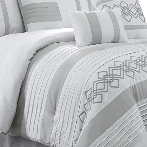 Chezmoi Collection Ariel 7 Piece Gray White Geometric Chenille Embroidery Pleated Striped Comforter Set Queen Size 0 2
