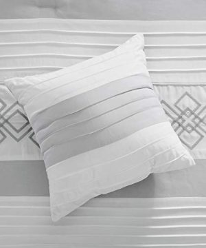Chezmoi Collection Ariel 7 Piece Gray White Geometric Chenille Embroidery Pleated Striped Comforter Set Queen Size 0 4 300x360