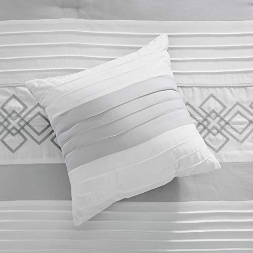 Chezmoi Collection Ariel 7 Piece Gray White Geometric Chenille Embroidery Pleated Striped Comforter Set Queen Size 0 4