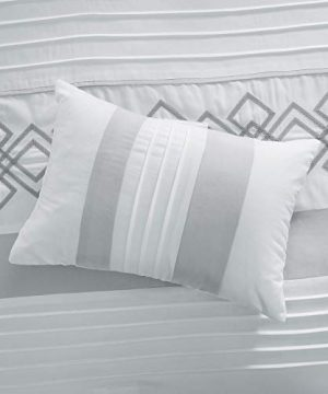 Chezmoi Collection Ariel 7 Piece Gray White Geometric Chenille Embroidery Pleated Striped Comforter Set Queen Size 0 5 300x360