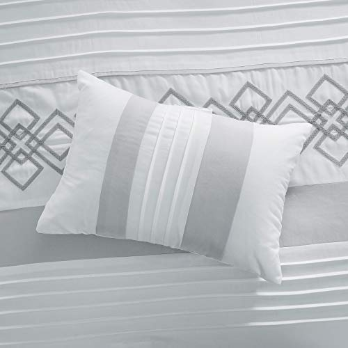 Chezmoi Collection Ariel 7 Piece Gray White Geometric Chenille Embroidery Pleated Striped Comforter Set Queen Size 0 5