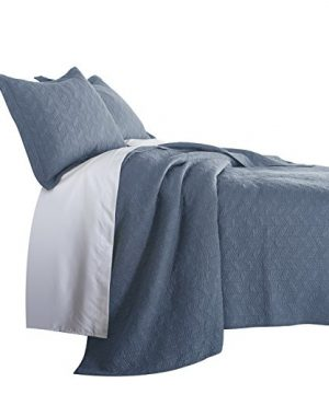Chezmoi Collection Roswell 3 Piece Geometric Striped Soft Finished Vintage Washed 100 Cotton Quilt Set King Blue 0 300x360