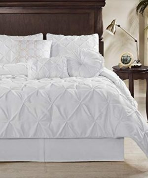 Chezmoi Collection Sydney 7 Piece Pintuck Comforter Set King White 0 0 300x360