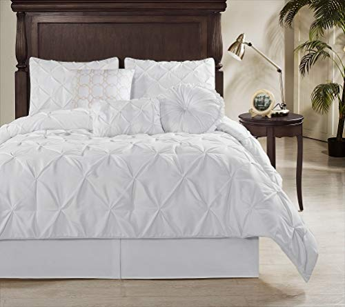 Chezmoi Collection Sydney 7 Piece Pintuck Comforter Set King White 0 0
