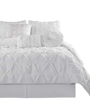 Chezmoi Collection Sydney 7 Piece Pintuck Comforter Set King White 0 300x360