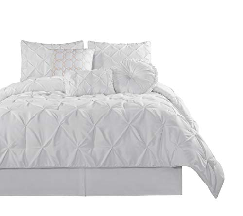 Chezmoi Collection Sydney 7 Piece Pintuck Comforter Set King White 0