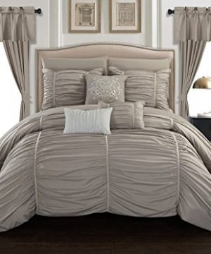 Chic Home Avila 20 Piece Comforter Set Ruffled Ruched Designer Bag Bedding Sheets Window Treatments Decorative Pillows Shams Included Queen Taupe 0 300x360