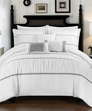 Chic Home Cheryl 10 Piece Comforter Set Complete Bed In A Bag Pleated Ruched Ruffled Bedding With Sheet Set And Decorative Pillows Shams Included Queen White 0 300x360