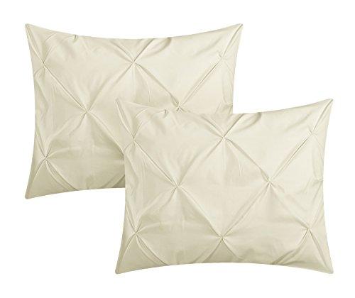 Chic Home Daya 4 Piece Duvet Cover Set Ruffled Pinch Pleat Design Embellished Zipper Closure Bedding Queen Beige 0 3