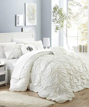 Chic Home Halpert 6 Piece Comforter Set Floral Pinch Pleated Ruffled Designer Embellished Bed Skirt King White 0 300x360