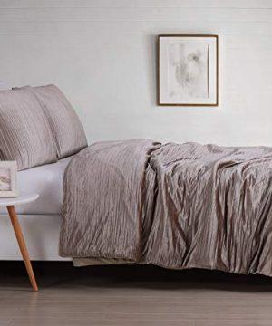 Christian Siriano Crinkle Luster Velvet Comforter Set FullQueen Ros 0 300x360