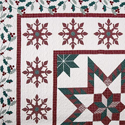 Christmas Farmhouse Holidays Snowflakes Stars 100 Cotton King Quilt Shams Homemade Wax Melts 0 0