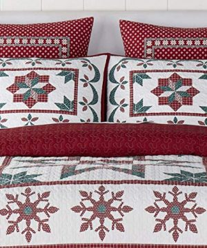 Christmas Farmhouse Holidays Snowflakes Stars 100 Cotton King Quilt Shams Homemade Wax Melts 0 1 300x360