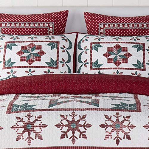 Christmas Farmhouse Holidays Snowflakes Stars 100 Cotton King Quilt Shams Homemade Wax Melts 0 1