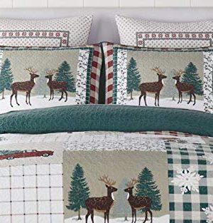 Christmas Farmhouse Patchwork Holidays Reindeer 100 Cotton King Quilt Shams Homemade Wax Melts 0 0 300x313