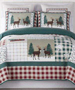 Christmas Farmhouse Patchwork Holidays Reindeer 100 Cotton King Quilt Shams Homemade Wax Melts 0 2 300x360