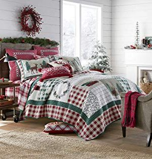 Christmas Farmhouse Patchwork Holidays Reindeer 100 Cotton King Quilt Shams Homemade Wax Melts 0 300x313