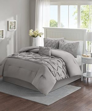 Comfort Spaces Cavoy Ultra Soft Hypoallergenic Microfiber Tufted Pattern 5 Piece Comforter Set Bedding Queen Gray 0 300x360