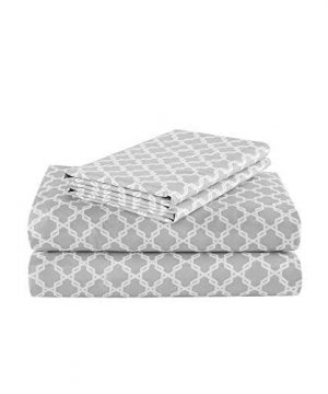 Comfort Spaces Coolmax Moisture Wicking 3 Piece Set Geometric Pattern Smart Bed Cooling Sheets For Night Sweats Twin Charcoal Print 0 0 300x360