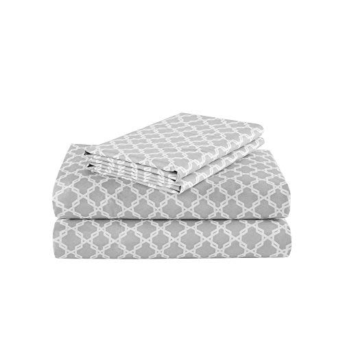 Comfort Spaces Coolmax Moisture Wicking 3 Piece Set Geometric Pattern Smart Bed Cooling Sheets For Night Sweats Twin Charcoal Print 0 0