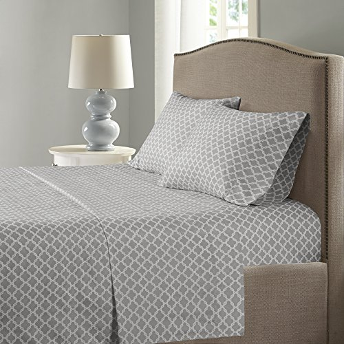 Comfort Spaces Coolmax Moisture Wicking 3 Piece Set Geometric Pattern Smart Bed Cooling Sheets For Night Sweats Twin Charcoal Print 0