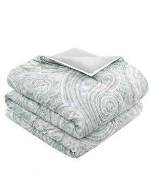 Comfort Spaces Kashmir 8 Piece Comforter Set Hypoallergenic Microfiber Lightweight All Season Paisley Print Bedding King Soft Blue 0 1 300x360