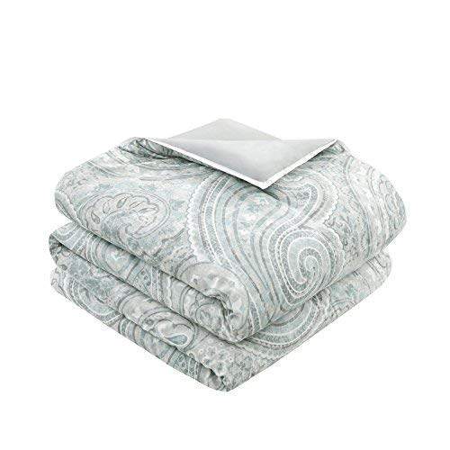 Comfort Spaces Kashmir 8 Piece Comforter Set Hypoallergenic Microfiber Lightweight All Season Paisley Print Bedding King Soft Blue 0 1