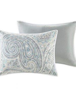 Comfort Spaces Kashmir 8 Piece Comforter Set Hypoallergenic Microfiber Lightweight All Season Paisley Print Bedding King Soft Blue 0 3 300x360
