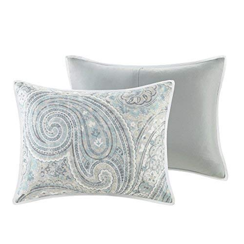 Comfort Spaces Kashmir 8 Piece Comforter Set Hypoallergenic Microfiber Lightweight All Season Paisley Print Bedding King Soft Blue 0 3