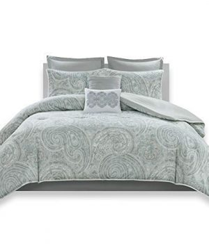 Comfort Spaces Kashmir 8 Piece Comforter Set Hypoallergenic Microfiber Lightweight All Season Paisley Print Bedding King Soft Blue 0 300x360