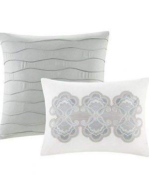 Comfort Spaces Kashmir 8 Piece Comforter Set Hypoallergenic Microfiber Lightweight All Season Paisley Print Bedding King Soft Blue 0 5 300x360
