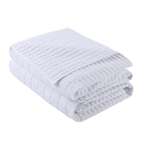 Comfort Spaces Kienna 2 Piece Quilt Coverlet Bedspread Ultra Soft Hypoallergenic Microfiber Stitched Bedding Set TwinTwin XL White 0 1