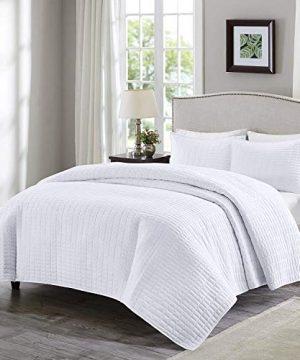 Comfort Spaces Kienna 2 Piece Quilt Coverlet Bedspread Ultra Soft Hypoallergenic Microfiber Stitched Bedding Set TwinTwin XL White 0 300x360