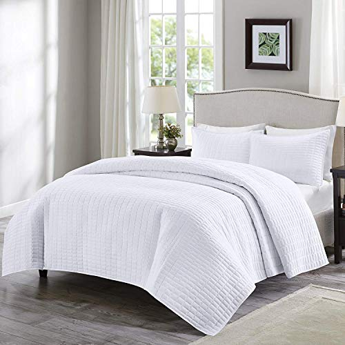 Comfort Spaces Kienna 2 Piece Quilt Coverlet Bedspread Ultra Soft Hypoallergenic Microfiber Stitched Bedding Set TwinTwin XL White 0