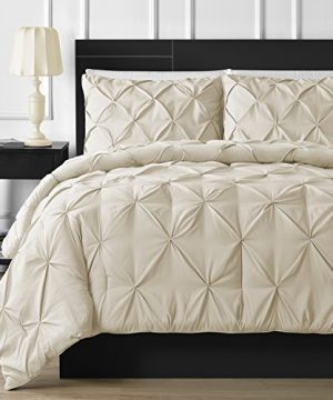 Comfy Bedding Double Needle Durable Stitching 3 Piece Pinch Pleat Comforter Set All Season Pintuck Style King Beige 0 300x360