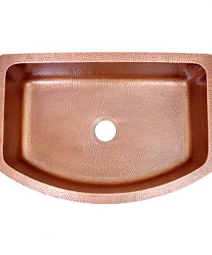 Coppersmith Creations 33 Inch Copper Kitchen Sink D Shape Hammered Front Apron Discounted Price For Limited Time 0 0 300x360