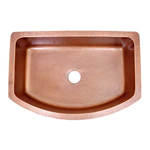 Coppersmith Creations 33 Inch Copper Kitchen Sink D Shape Hammered Front Apron Discounted Price For Limited Time 0 0