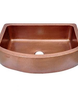 Coppersmith Creations 33 Inch Copper Kitchen Sink D Shape Hammered Front Apron Discounted Price For Limited Time 0 300x360