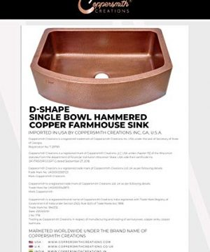 Coppersmith Creations 33 Inch Copper Kitchen Sink D Shape Hammered Front Apron Discounted Price For Limited Time 0 4 300x360