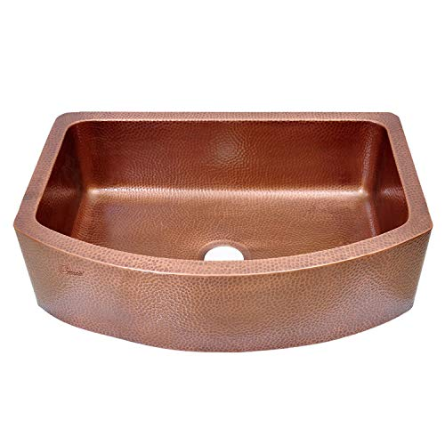 Coppersmith Creations 33 Inch Copper Kitchen Sink D Shape Hammered Front Apron Discounted Price For Limited Time 0
