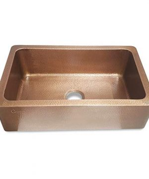 Coppersmith Creations 33 Inch Farmhouse Front Apron Copper Kitchen Sink Single Bowl Hand Hammered Antique Finish Best Quality Best Price 0 1 300x360