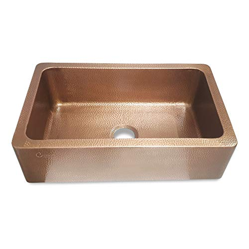 Coppersmith Creations 33 Inch Farmhouse Front Apron Copper Kitchen Sink Single Bowl Hand Hammered Antique Finish Best Quality Best Price 0 1
