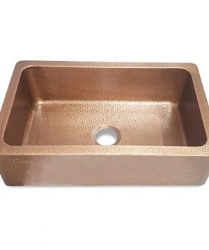 Coppersmith Creations 33 Inch Farmhouse Front Apron Copper Kitchen Sink Single Bowl Hand Hammered Antique Finish Best Quality Best Price 0 2 300x360