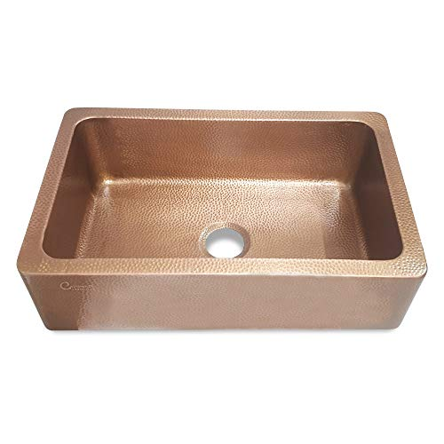 Coppersmith Creations 33 Inch Farmhouse Front Apron Copper Kitchen Sink Single Bowl Hand Hammered Antique Finish Best Quality Best Price 0 2