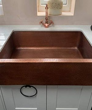 Coppersmith Creations 33 Inch Farmhouse Front Apron Copper Kitchen Sink Single Bowl Hand Hammered Antique Finish Best Quality Best Price 0 3 300x360