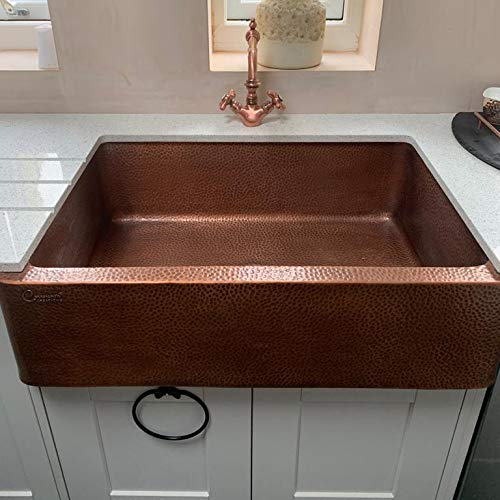Coppersmith Creations 33 Inch Farmhouse Front Apron Copper Kitchen Sink Single Bowl Hand Hammered Antique Finish Best Quality Best Price 0 3