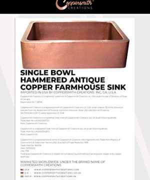 Coppersmith Creations 33 Inch Farmhouse Front Apron Copper Kitchen Sink Single Bowl Hand Hammered Antique Finish Best Quality Best Price 0 4 300x360
